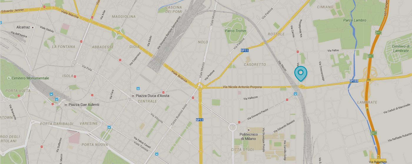 Maxim Consulting - Agire il Domani - Mappa Dove siamo - Foto Mappa - Via Ronchi, 16/8 - Milano (zona Città Studi) - Lambrate - Stazione Lambrate - M2 Udine - M2 Lambrate - 02.798.534
